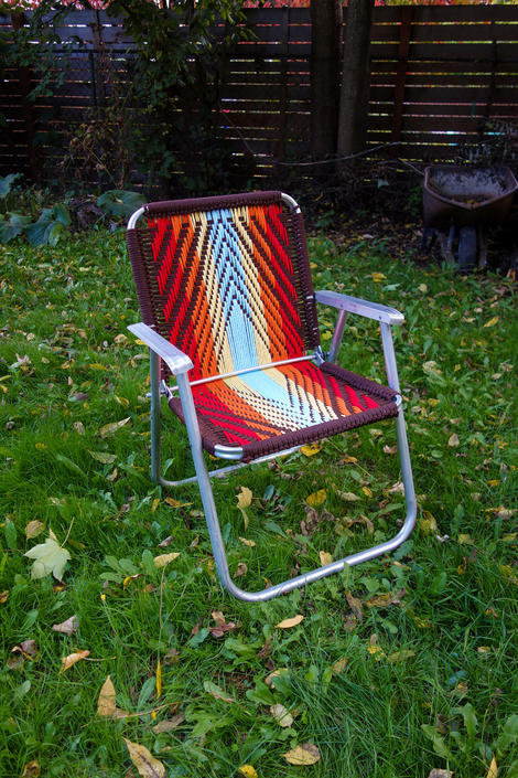 Hand Woven Rainbow Lawn Chair, Macrame Vintage Aluminum Lawnchair Outdoor Folding Metal Glamping, Yard, Concert, Pride, Camp Festival Seat by forestfathers