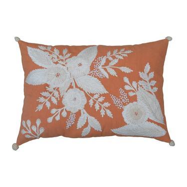 Embroidered Coral Lumbar Pillow