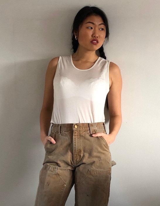 90s silk tank / vintage white sheer silk knit jersey tissue thin tank / silk long underwear sleeveless tee T-shirt tank  | XS S by RecapVintageStudio