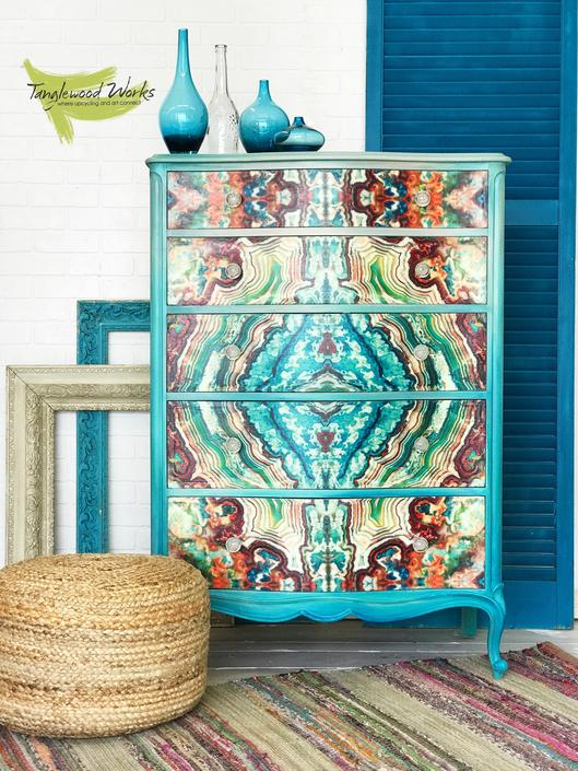 Stunning Sea green and Blue Agate designed French Provincial Dresser