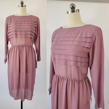 1970s NOS Sheer Mauve Dress by Joy Stevens Collection 70's Dresses 70s Deadstock Women's Vintage Size Large by HeySailorNiceVintage