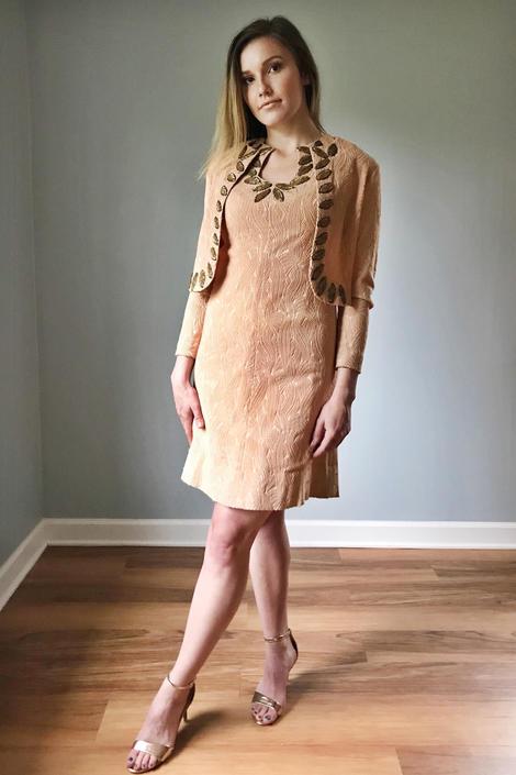 Vintage 60s Peach Wiggle Dress + Matching Jacket Bolero by SpeakVintageDC