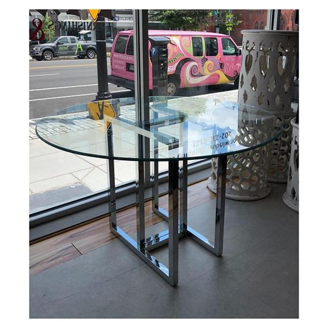 Chrome base (round) glass top dining table 48 W x 29 H