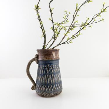 Large Stoneware Stein, Vintage Studio Pottery Stein Beer Mug, Stem and Branch Vase, Renaissance Stein, Farmhouse Shelf Decor by PebbleCreekGoods