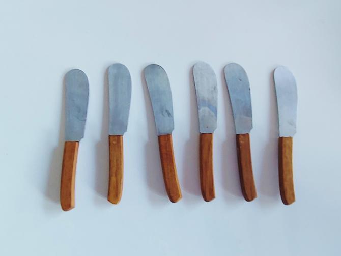 Vintage Stainless Canape Knife Set With Teak Handles by Otagiri Japan Original Box by ModandOzzie