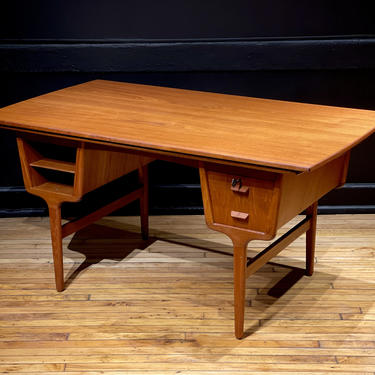 Refinished Danish Teak Expanding Executive Desk Partners Desk Floating Top Conference Table Dining Table - Mid Century Modern Scandinavian by MidMod414