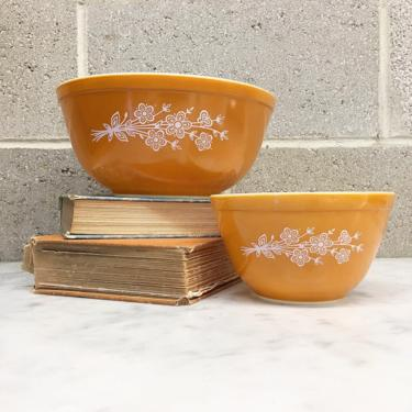 Vintage Pyrex Bowl Set Retro 1970s Butterfly Gold + Yellow and White + Ceramic + Mixing or Nesting Bowls + Kitchen Storage + Decor by RetrospectVintage215