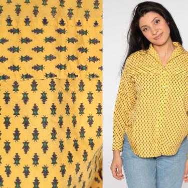 Geometric Button Up Shirt 80s Yellow Top Blouse Southwestern Long Sleeve Vintage Cotton Oversize Southwest 1980s Retro Medium by ShopExile