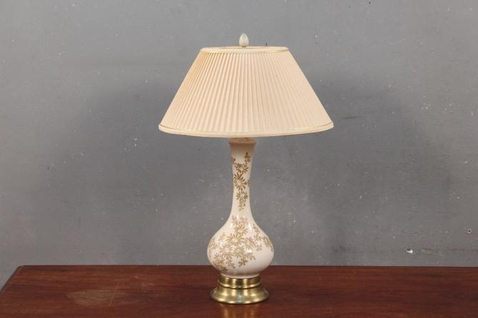 Mid Century Floral White & Ochre Table Lamp