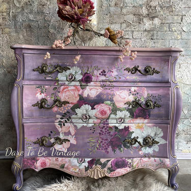 SOLD Romantic Floral Hand Painted Bombay Dresser  - Rustic Farmhouse Dresser - Painted Furniture - Floral Dresser by DareToBeVintage