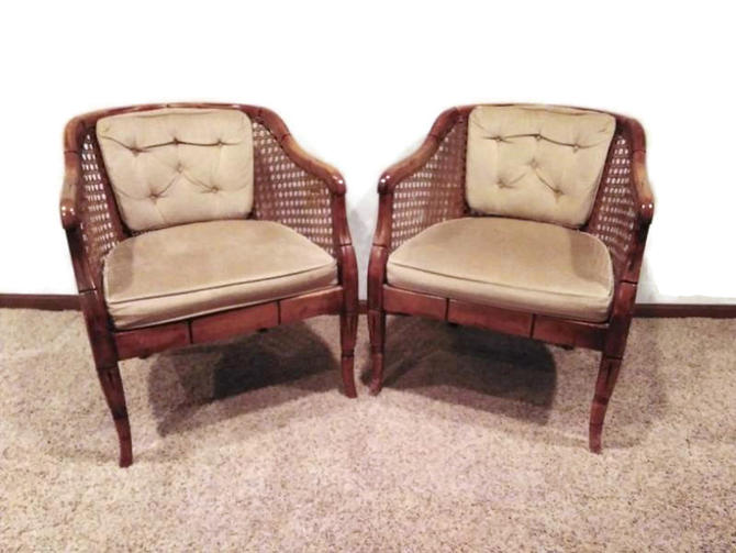 MCM Barrel Back Chairs, Vintage Cane Chairs, Louis XV Style Chairs, Velour, Home Decor by 3GirlsAntiques