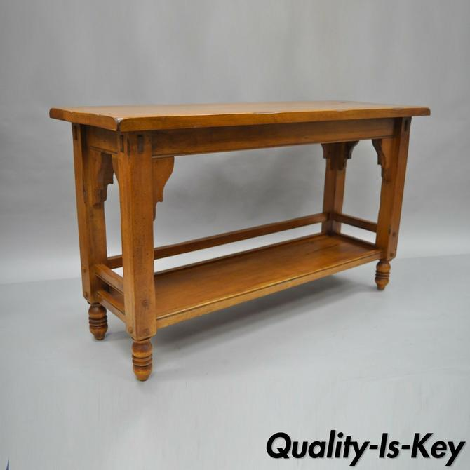 """Distressed Wood Sofa Console Hall Table Primitive Rustic Log Cabin 50"""" Long"""