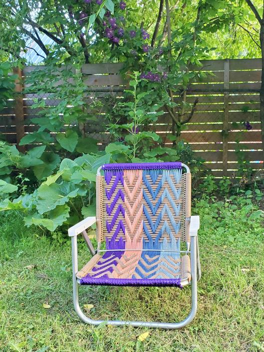 Macrame Lawn Chair Hand Made Using Vintage Aluminum Folding Lawnchair Outdoor Metal Woven Glamping, Yard, Concert, Patio, Camp Festival Seat by forestfathers