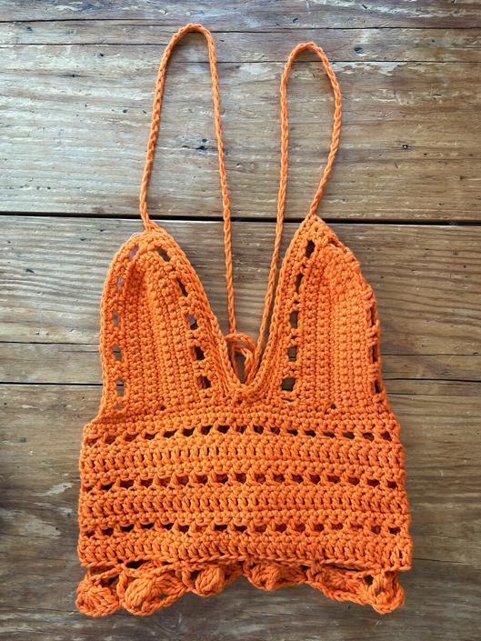 Private Listing Orange Crochet Top
