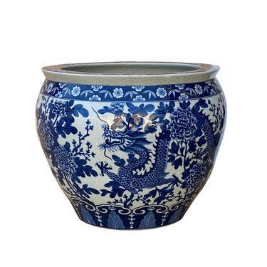 Chinese Blue White Double Dragons Flower Porcelain Pot Planter cs6975E by GoldenLotusAntiques