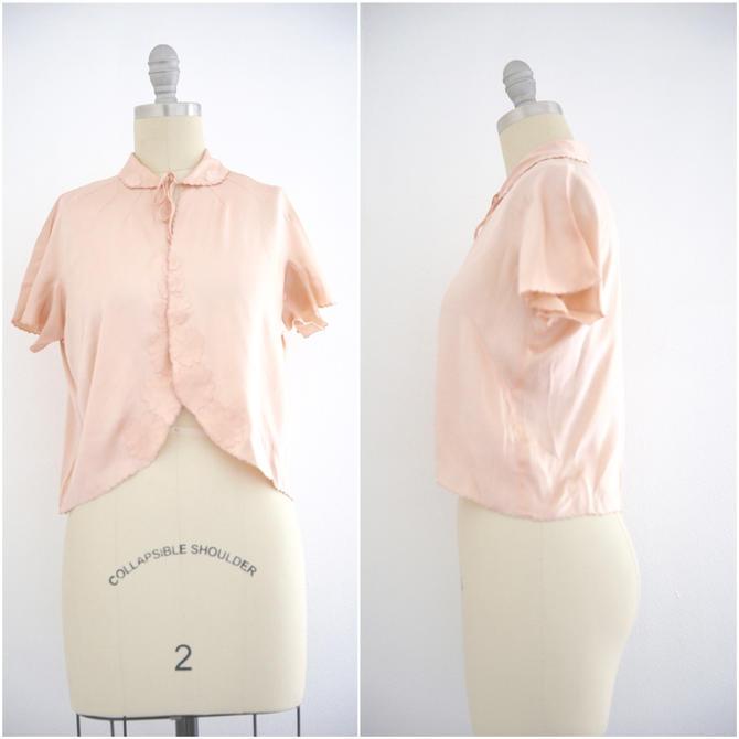 Vintage 1950s Silk Pink Lingerie Top