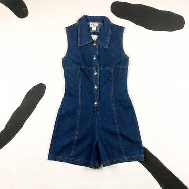 90s Denim Button Front Romper / Cut Out Back / Jean / Shorts / Onesie / 1990s / 90210 / Grunge / Small / Deadstock / Jean Dress / Clueless / by badatpettingcats