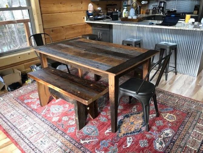 Weathered Gray Barn Wood Kitchen Table by BarnWoodFurniture ...