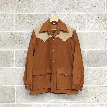 Vintage Woolrich Button-down Retro 1970s Pointed Collar + Snap Button + Rust Color + Suede + Size Large + Lightweight Jacket + Apparel by RetrospectVintage215