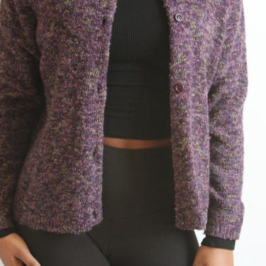 Purple Bouclé Boxy Wool Blend Cardigan 1980's fits S - L by BeggarsBanquet