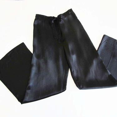 Vintage Black Satin Pants 25 Small - 1970s High Waist Wide Leg Pants-  Silky Shiny Satin Trousers - Drawstring Waist - Disco Pants by MILKTEETHS