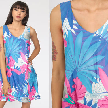 Hawaiian Dress Sun 90s Mini Floral Tropical Print Hilo Hattie Sundress Vintage Sleeveless Shift Purple Blue Minidress Medium by ShopExile