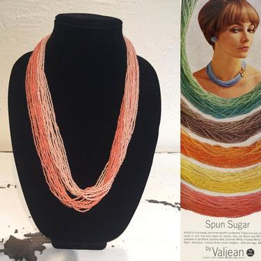 Orange Aurora Sunsets  - Vintage 1950s 1960s Two Tones of Flamingo Coral Glass Seed Beads Multi Strand Necklace by RoadsLessTravelled2