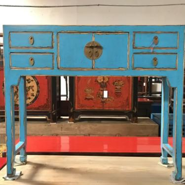 ASIAN Console Table in Lacquered Turquoise Blue #LosAngeles by HouseCandyLA