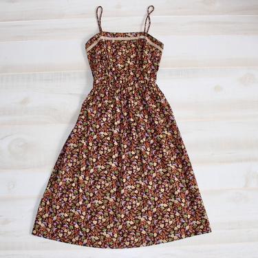 Vintage 70s Sundress, 1970s Romantic Summer Dress, Spaghetti Strap, Cottagecore, Floral Liberty Print, Prairie, Boho by WildwoodVintage