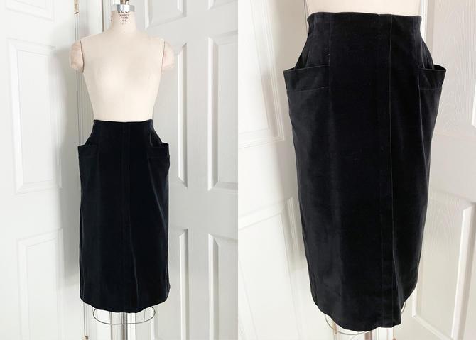 1940s 50s Black Velvet Pencil Skirt With Flared Hip Pockets by hemlockvintage