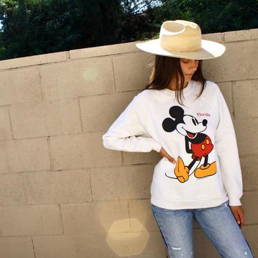 Mickey Sweatshirt // vintage mouse sweater t-shirt boho Florida Disney tee t shirt cotton 70s top 80s white // O/S by FenixVintage