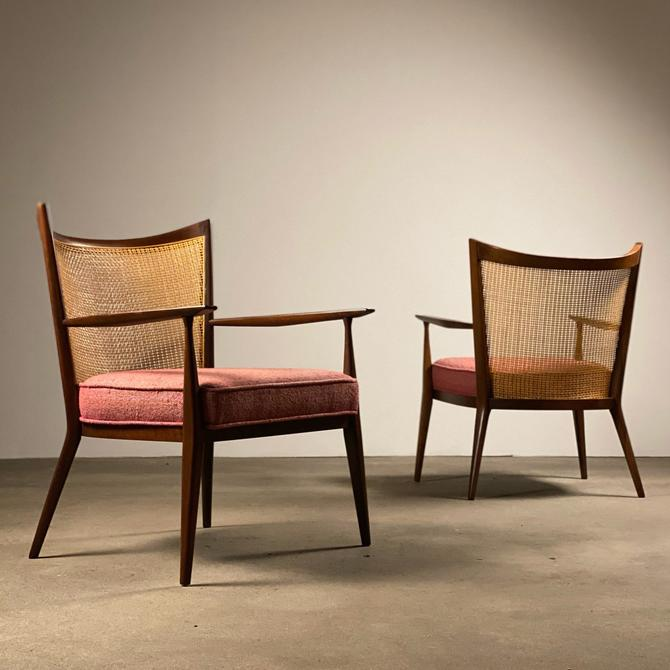 Paul McCobb Walnut + Cane Armchairs by Directional by midcenTree