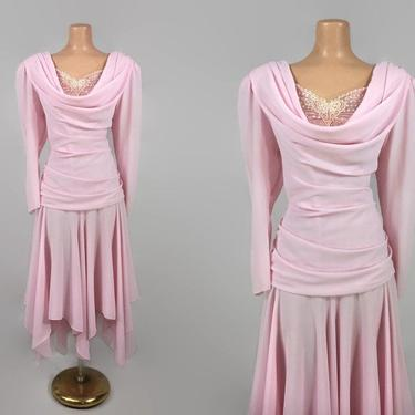 VINTAGE 1980s Ruched & Draped Handkerchief Cocktail Dress   80s Pretty in Pink Party Dress   80s does 40s Ruched Dress   Plus Size 13/14 by IntrigueU4Ever