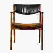 Single Leather Danish Modern Teak Dining \/ Accent Arm Chair