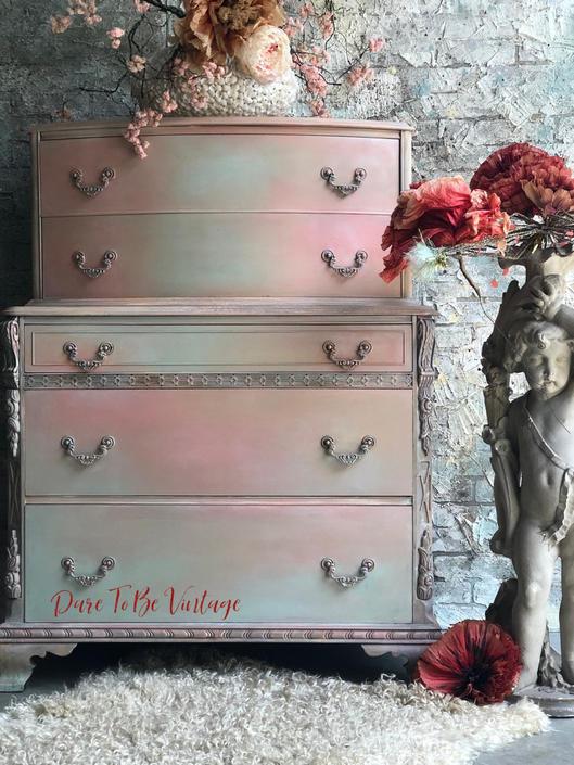 Bohemian Painted Dresser - Vintage Dresser - Buffet - Soft Pastel Dresser - Painted Dresser - by DareToBeVintage