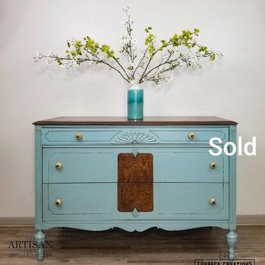 SOLD Vintage Refinished Wood Buffet. Hand Painted Low Boy Dresser. Sideboard Buffet. Entryway Accent Piece. Bedroom Dining Room Storage. by LuebeckCreations