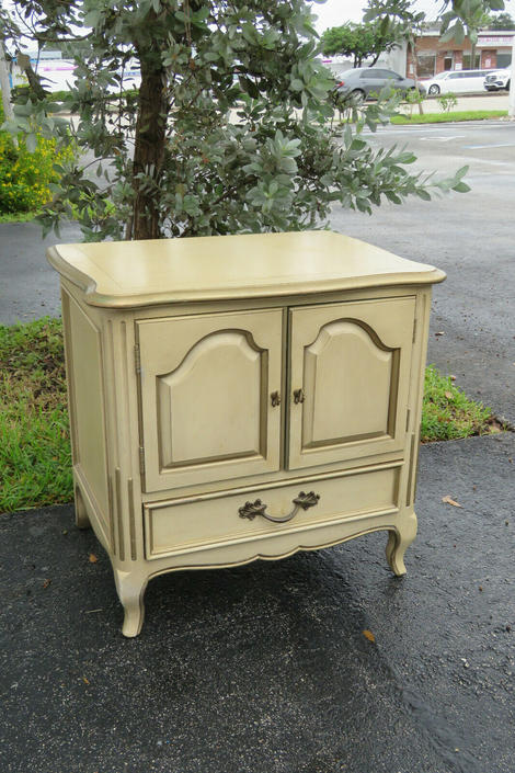 French Painted Nightstand Side End Table with Gold Highlights by Century 1568
