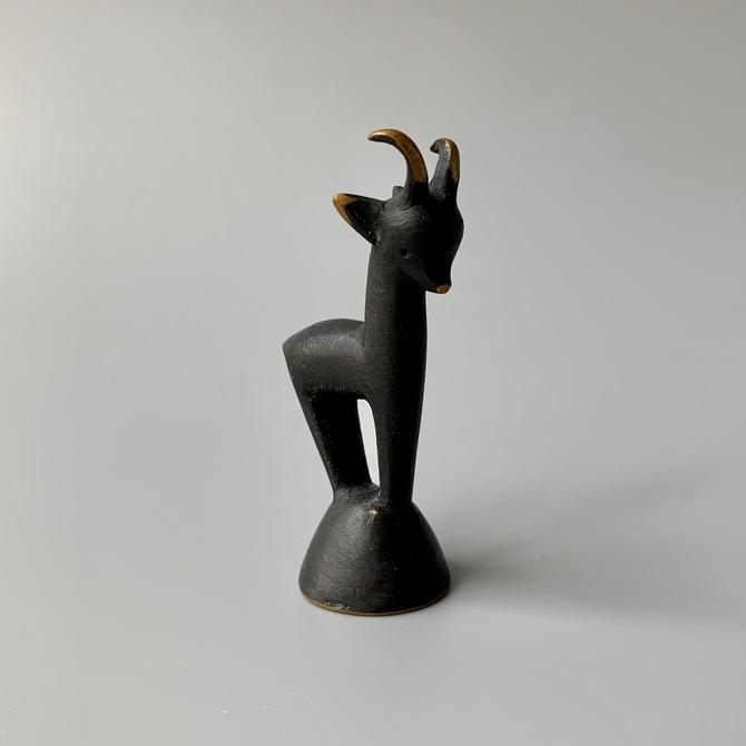 Walter Bosse Herta Baller Miniature Brass Goat Figurine Black Gold Line by HomeAnthology