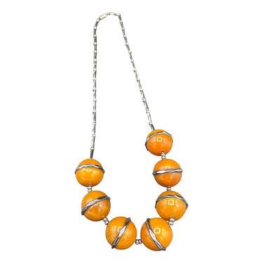 30s Machine Age Art Deco Chrome Necklace with Butterscotch Bakelite Globes