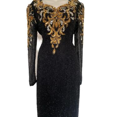Vintage gold sequin dress, gold beaded gown, full length dress, keyhole back black tie formal cocktail gown size medium m 10 / 12  Eur 40 by RETROSPECTNYC
