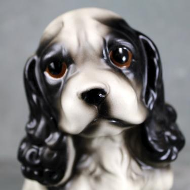 Puppy LOVE! Adorable Cavalier King Charles Spaniel Porcelain Figurine - King Charles Spaniel Black & White - Made in Japan | FREE SHIPPING by Bixley