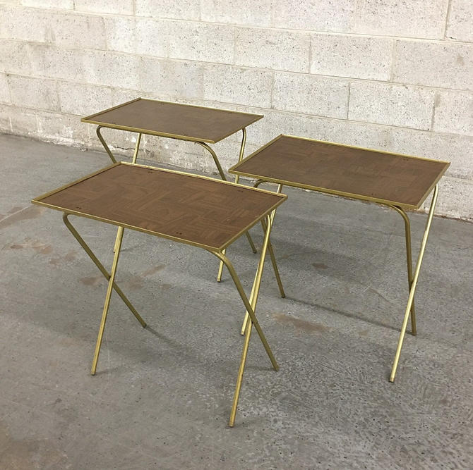 Vintage TV Trays Retro 1960s Mid Century Modern Set of 3 Matching Woodgrain Laminate + Gold Metal Collapsible Tables + MCM Living Room Decor by RetrospectVintage215