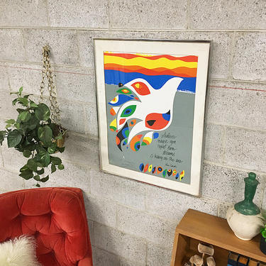 LOCAL PICKUP ONLY Vintage Sam Martin Print 1970's Retro Size 24x30 Colorful Bird Screen Print on Paper of Bird And John Ciardi Quote Framed by RetrospectVintage215