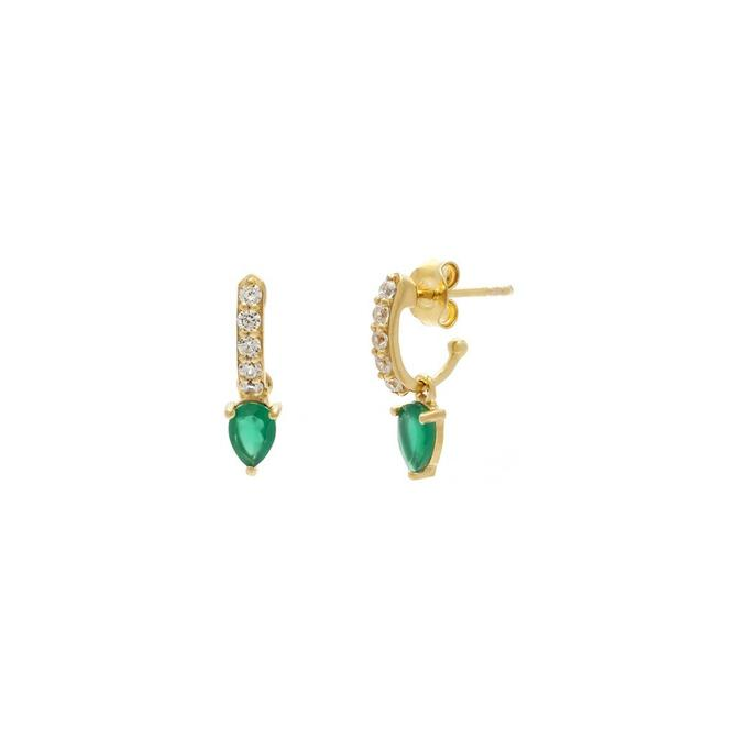 Demi Hoops - Green Onyx