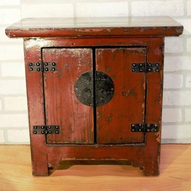 Antique Authentic Red Lacquer Kang 2 Door Storage Cabinet Box
