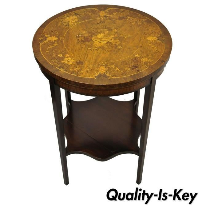 French Edwardian Floral Marquetry Satinwood Inlay Round Accent Side Table