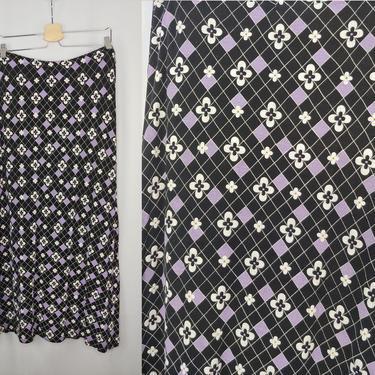 Vintage 2000 Y2K Large Elastic Waist Maxi Skirt - Acetate Argyle Floral Print Long Pull On Skirt by JanetandJaneVintage