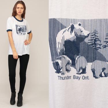 Bear Shirt THUNDER BAY ONTARIO Shirt 80s Ringer Tee Animal TShirt Retro Tee Vintage Graphic 1980s T Shirt Burnout Hipster Large by ShopExile