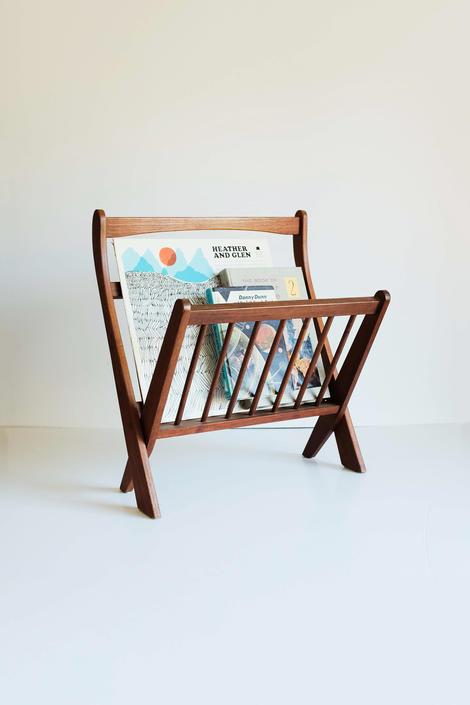 Danish Teak Magazine Rack Slated Folding by MicroscopeTelescope