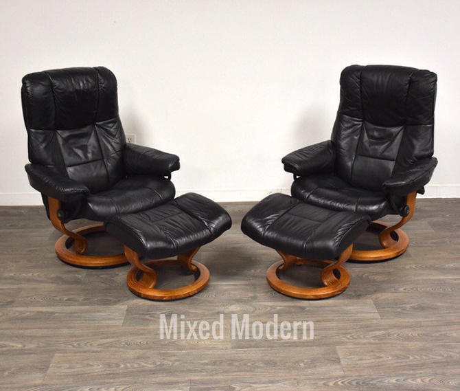 Black Leather and Teak Ekornes Lounge Chairs and Ottomans - A Pair by mixedmodern1